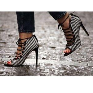 Zara Black & White Checkered Lace Up Heels